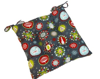 Indoor Cotton Tufted Seat Cushion w/ ties - Holiday Folks - Gray, Light Blue, Red, Green, White Christmas Fabric - Choose Size
