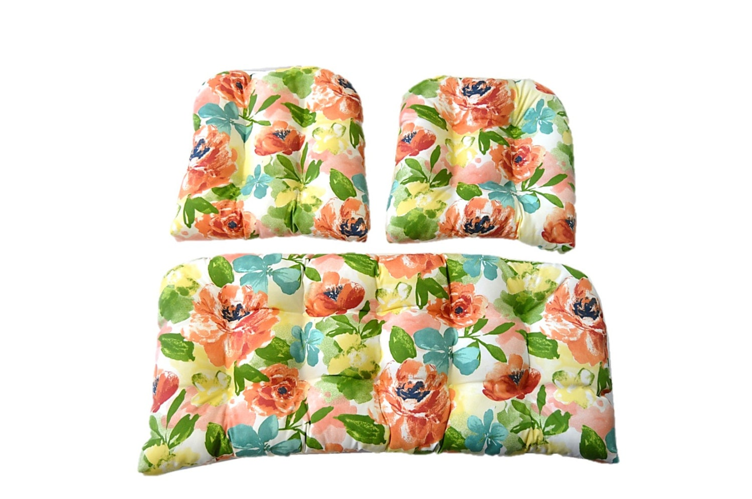 3 Piece In / Outdoor Wicker Cushion Set Coral Teal Green