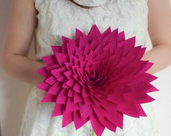 Wedding Bouquet/ Bridal Bouquet/ Bridesmaid Bouquet/ Paper Flower Bouquet/ Alternative Bouquet/ Paper Dahlia/ Fuschia Dahlia
