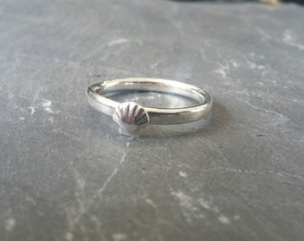 Sterling silver seashell ring, silver ring, silver shell ring, silver stacking ring, art deco inspired