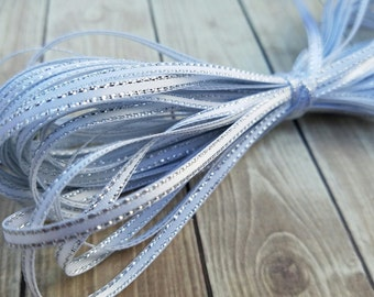 1/8 INCH WHITE Silver-Edged Satin Twine Ribbon