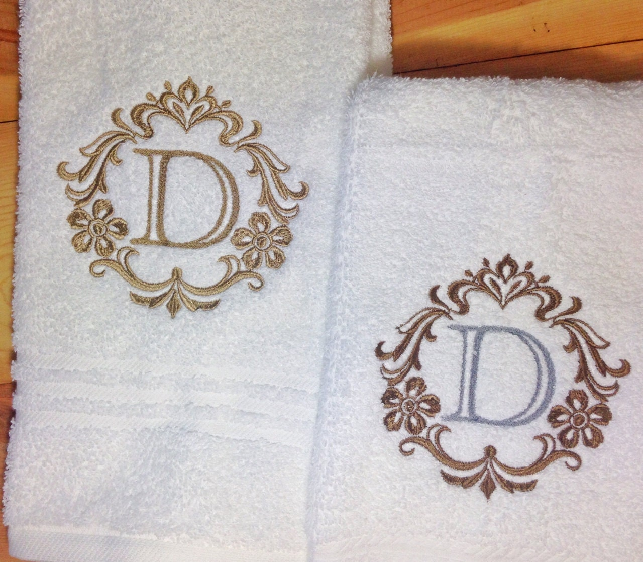 Monogrammed Towels Elegant Damask Monogram By