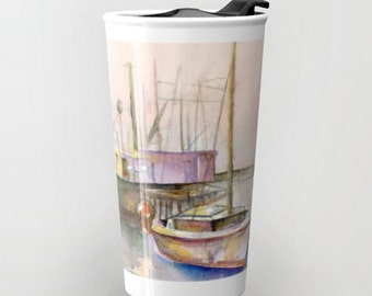 2 Ships Travel Mug (Original Watercolor Pattern) Coffee Mug, Coffee Cup, Abstract Florals Watercolor, Cup, Art Lover Gift, Travel Mug