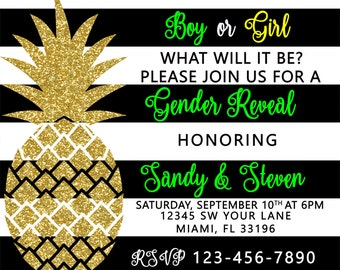 Pineapple sweet 15, sweet 16, quinces invitation, invite, bridal party, bridal shower invite, gender reveal invite, wedding invite