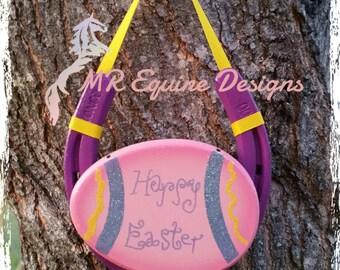 Purple, Pink, Easter Egg Horseshoe Wall Decor