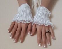 bridal cuff, wedding cuff, wrist cuffs, lace cuff, satin cuff, ivory cuff, Lace satin ivory cuff free shipping