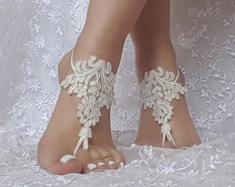 ivory or black Beach wedding barefoot sandals bridesmaid gift bridal beach shoes gothique, gothic beach accessory, steampunk, bellydance