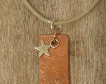 Daisy Etched copper pendant