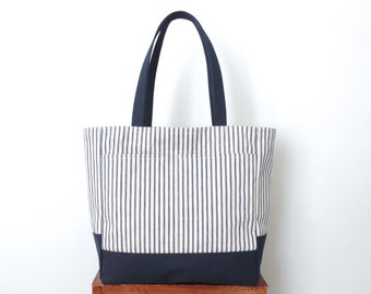 Stripe Canvas Tote Bag Recycled Blue Ticking Stripe SALE
