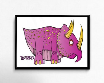 TRICERATOPS! - Awesome Dinosaur - A3 Print - Perfect Present For Dinosaur Fan