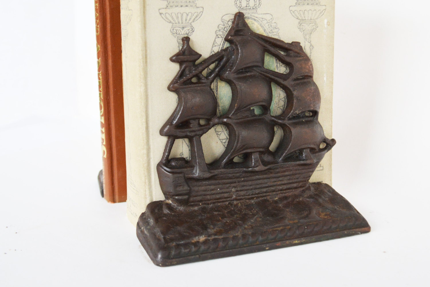 Cast Iron Bookends Vintage Ship Bookends Nautical Ships Old
