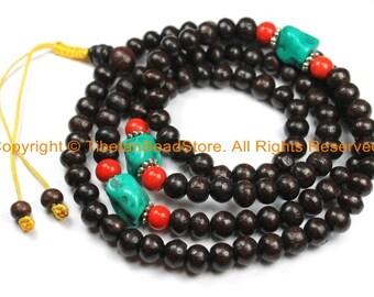 108 beads Tibetan Dark Wood Mala Prayer Beads with Spacer Beads 8mm - Tibetan Mala Beads - TibetanBeadStore Mala Making Supplies - PB130