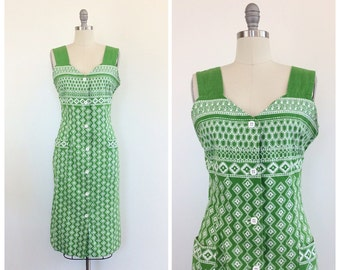70s Green and White Geometric Print Shift Dress - 1970s Vintage Cotton Day Dress - Large - Size 10