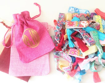 Elastic Hair Ties in Monogrammed Bag, No Crease Hair Elastics, Elastic Bracelets, Grab Bag