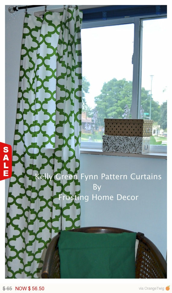 Kelly Green Curtains With Light Gray Grasscloth Walls: 13% Off Summer SALE One Pair Kelly Green By FrostingHomeDecor