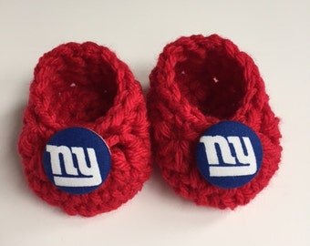 New York Giants baby booties,baby booties, infant shoes, crochet baby booties, booties for baby, crochet baby shoes