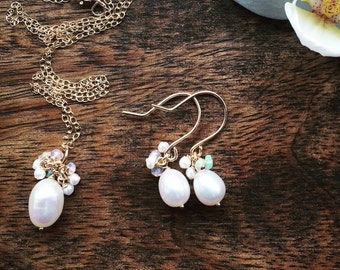 Freshwater Pearl earrings with opals - great bridesmaid gift
