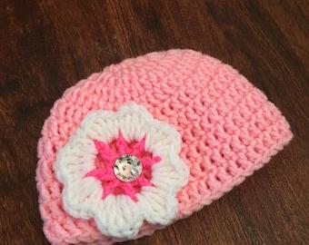 Girls Crochet Flower hat