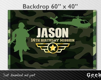 Military  Party Style Backdrop - Printable - Army - Soldier - Helicopter - Camouflage