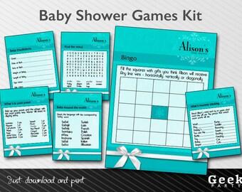 Blue Baby/Bridal Shower Games Kit - Printable - New Baby - Shower