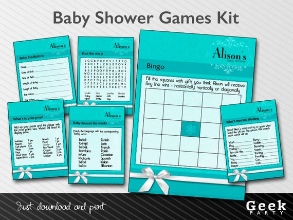 blue baby bridal shower games kit printable new baby shower