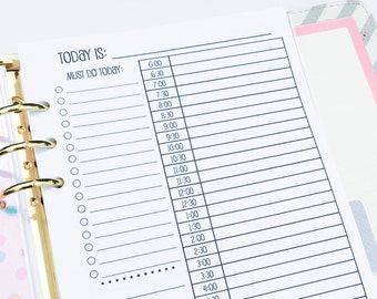 Printed Half Letter Size Day on One Page Planner Inserts {{90 DAYS}}