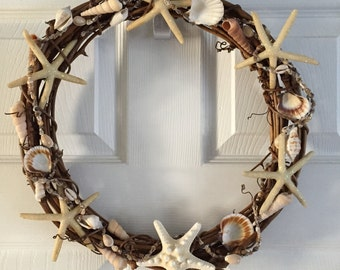 Seashell-Starfish Wreath 14""