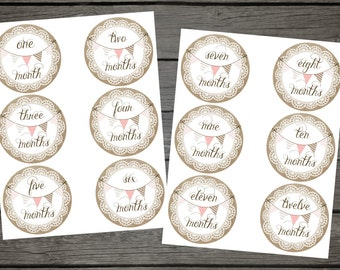 Burlap and Lace with Banner Baby Monthly Stickers - digital download