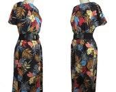Tropical Leaf Vintage Dress with Black Elastic Belt