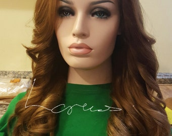 """16"""" European Remy Human Hair Lace Front wig Caramel"""