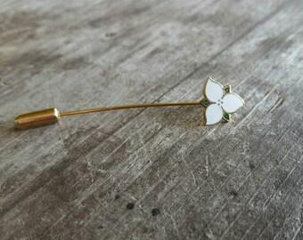 Sweet White Flower Enamel Stick Pin
