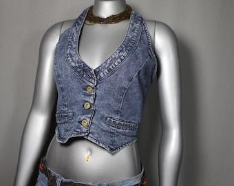 Blue Jean Crop To Vest School Summer Parties 2017 Style