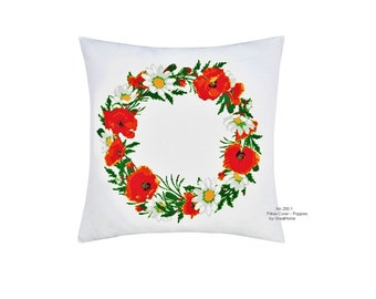 Pillow Covers - Poppies, Cross Stitch Pattern,Large Cross Stitch, PDF Instant Download,No. 200.1
