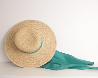 Vintage 1940s straw hat wide brim green band