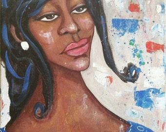 11x14 Original unique! African American Art on Canvas