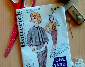 Vintage dress pattern Quick n Easy Butterick dress pattern 9476 size 16 60s suit pattern vintage sewing pattern dress pattern for women
