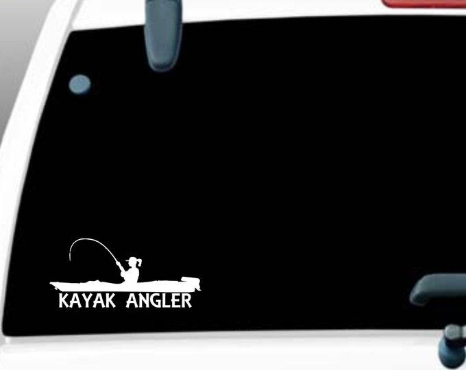 Kayak Angler female, Vinyl decal, female kayak, female kayak angler, female kayak fishing, girl kayak angler, girl kayak fishing, kayak