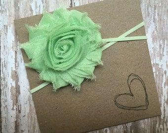 Mint Green Shabby Flower Headband