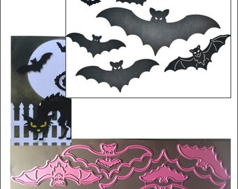 Halloween dies - BAT FAMILY B596 - Cheery Lynn designs die set for use in nearly all universal machines