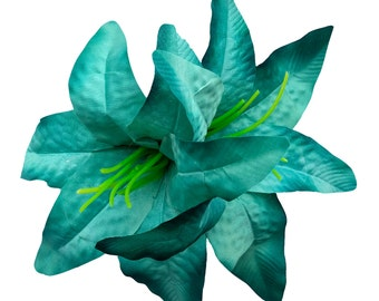 10% off with the code BDAY10  Oversized Teal Ombre Double Lily Hair Flower Pin Up Rockabilly