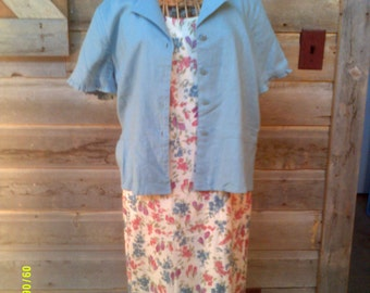 Woman's Vintage Summer Maxi Dress with Jacket, size 8Tall, by Ease Sport, Sleeveless Dress Set 8