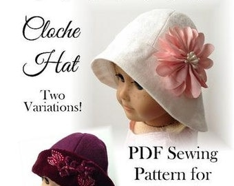 Pixie Faire Eden Ava Cloche Hat Doll Clothes Pattern for 18 inch American Girl Dolls - PDF