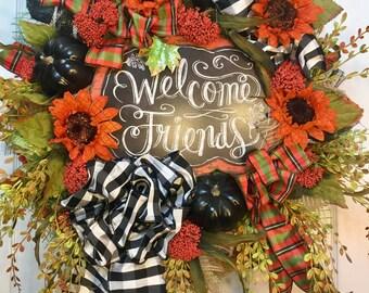 Premium Fall and Autumn Black Mesh Wreath
