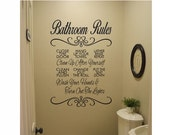 Bathroom Wall Quote Sign Vinyl Decal Sticker - Bathroom Rules decal sink multiple sizes kitchen wall bathroom lettering Wash your hands