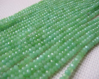 2.5x4mm Dyed Jade Lemon Green Faceted Rondelle Bead S182
