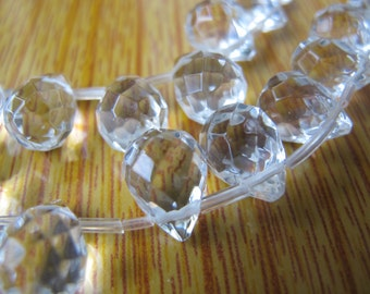 10x14mm Rock Crystal Faceted Briolette Bead S73