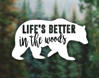 "Custom ""Bear"" Decal, Explorer, Adventure, Hiking, Nature Lover, Explore Decal, Mountains, Vehicle Decal, Camping, Hiking, Paddling, Woods"