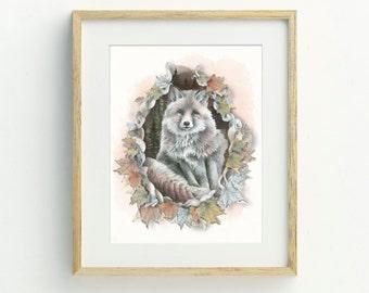 Fox Art Print - Fox Art, Home Decor, Nursery Decor, Autumn Wall Art, Fox Illustration, Autumn Leaves, Autumn Decor, Woodland Art Print
