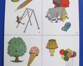 Vintage 1930's Elementary School Teacher Vocabulary Cards, Uncut