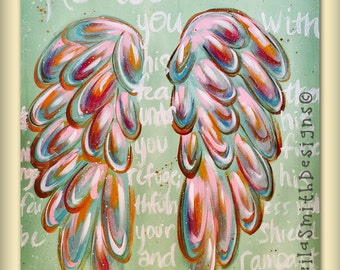 Bible Verse Painting, Psalm 91:4, Hand Painted Scripture on Canvas with wings by Artist Sheila Ann Smith